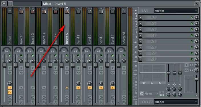 В FL Studio в MIXER выбираем свободный канал.