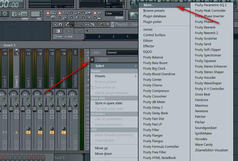 FL Studio: Нажимаем на маленькую стрелочку — появиться меню, выберем MORE.