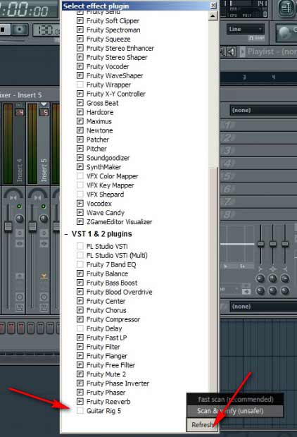 FL Studio: нажмем на кнопку REFRESH — Fast scan