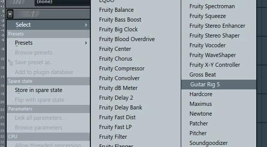 FL Studio: Нажимаем на стрелочку и в строке Select выберем Guitar rig 5.