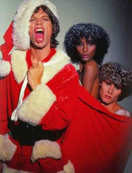 Mick Jagger(Мик Джаггер) в образе Санта-Клауса