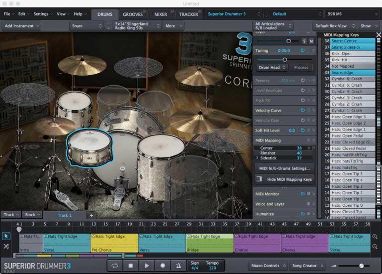 Superior Drummer 3 - MIDI Mapping теперь обрабатывается для каждого выбранного барабана