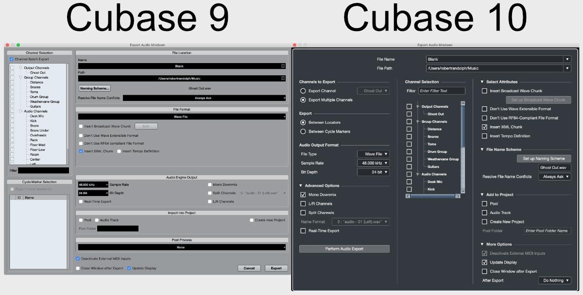 Cubase 9 и Cubase 10: диалог экспорта