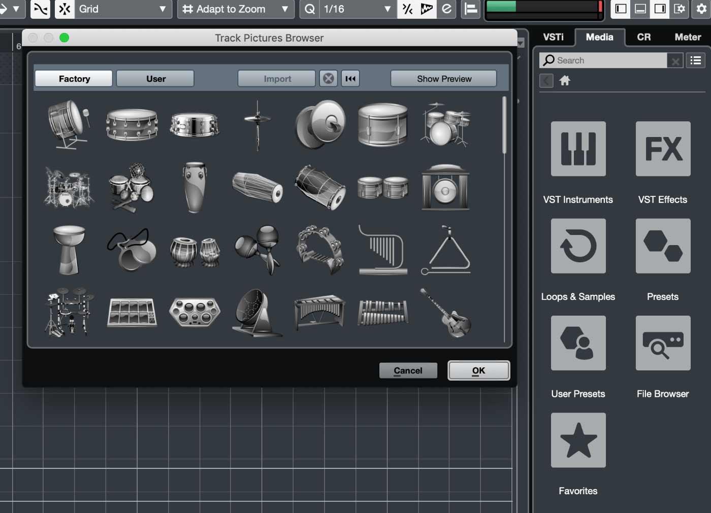 Cubase 10: Новый дизайн плиток в Media и иконок Track Type