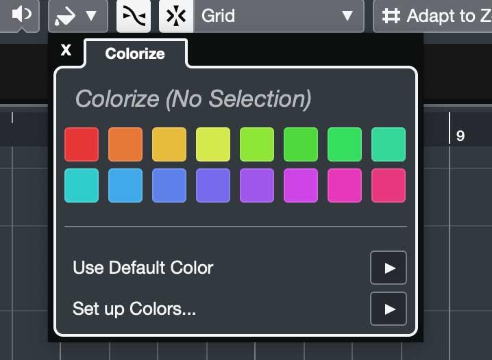Cubase 10: Новая панель выбора цвета