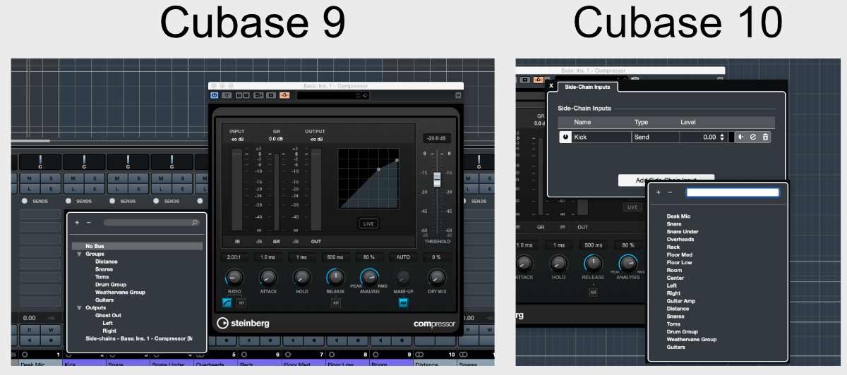 Cubase 9 и Cubase 10: Улучшенная маршрутизация в Side-Chain