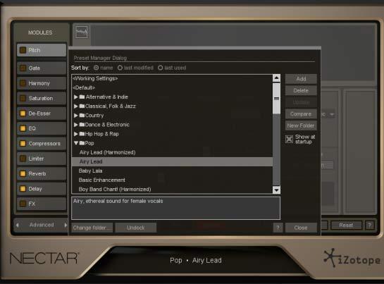 iZotope Nectar 2 - диалоговое окно менеджера пресетов