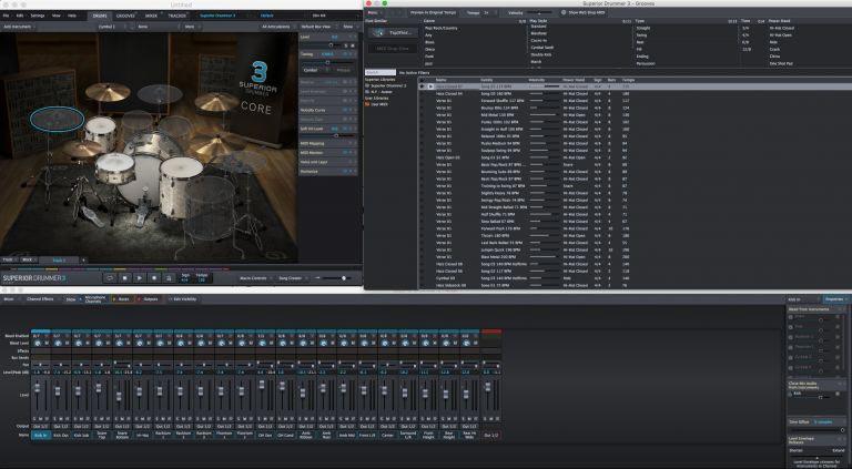 интерфейс Superior Drummer 3 имеет изменяемый размер и может быть расширен до любого размера экрана