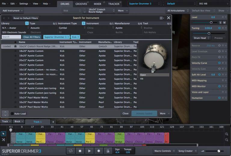 Окно поиска инструментов с уникальным изображением для каждого барабана - Superior Drummer 3