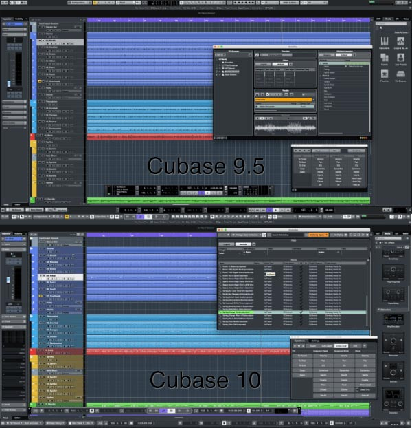 Cubase 9.5 и Cubase 10 - сравнение внешнего вида